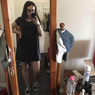 Faded Black Smock Dress
