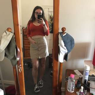 Corduroy A-Line Button Up Skirt