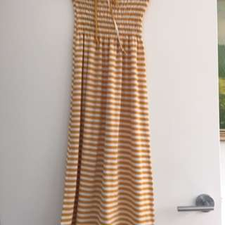 Mustard And White Striped Dress