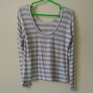 White and Gray Stripes Top