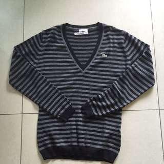 Lacoste黑灰條紋V領羊毛衣 尺寸:36