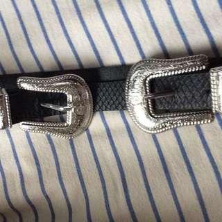 Western Style Double Buckle Belt