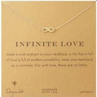INFINITE LOVE Pendant Necklace Gold Dipped New