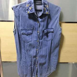 Sleeveless Denim Shirt With Floral Embroidery Design