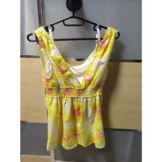 Yellow Floral Babydoll Top