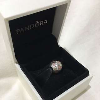 Authentic Pandora Pink Heart Enamel Silver Charm