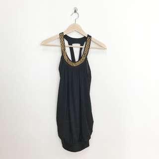 Black Dress With Gold Embellishment