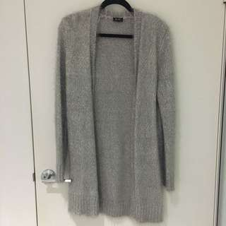 Bardot Grey Fluffy Cardigan