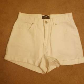Dotti White High Waisted Shorts | Size 8