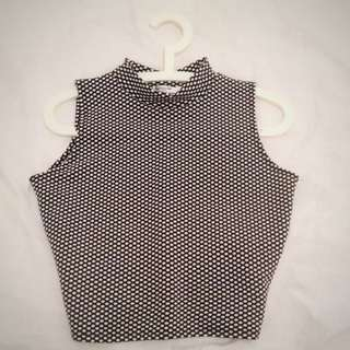 Paper Scissors Black And White Polka Dot Print Vintage Turtleneck Top
