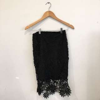 Midi Black Lace Skirt, Bought From Bebe In America