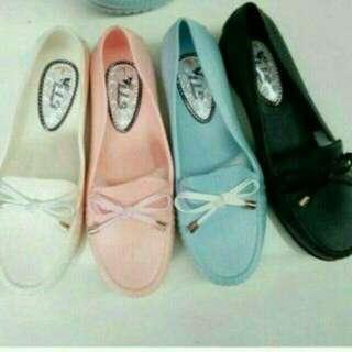 Sepatu Pita Wanita / Jellyshoes Ribbon / Sepatu Karet Kerja Kantor Cewek