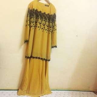 Mustard Yellow + Black Modern Baju Kurung