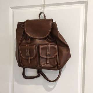 Cutest Little Brown Faux Leather Back Pack