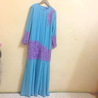 Blue + Purple Lace Modern Baju Kurung