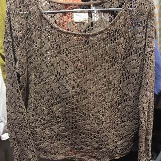 Zara 磚紅簍空針織上衣
