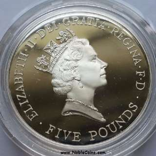 1996 Great Britain 5 Pound Proof Crown QEII 70th Birthday with box and COA