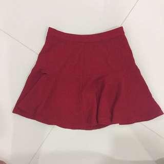 Forever 21 Red Flare Skirt