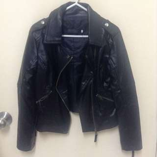 Synthetic Leather Jacket in Black