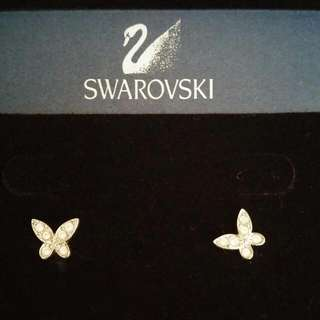 Authentic SWAROVSKI Butterfly Pierced Earrings, White