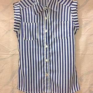 Buttoned Striped Blue Blouse