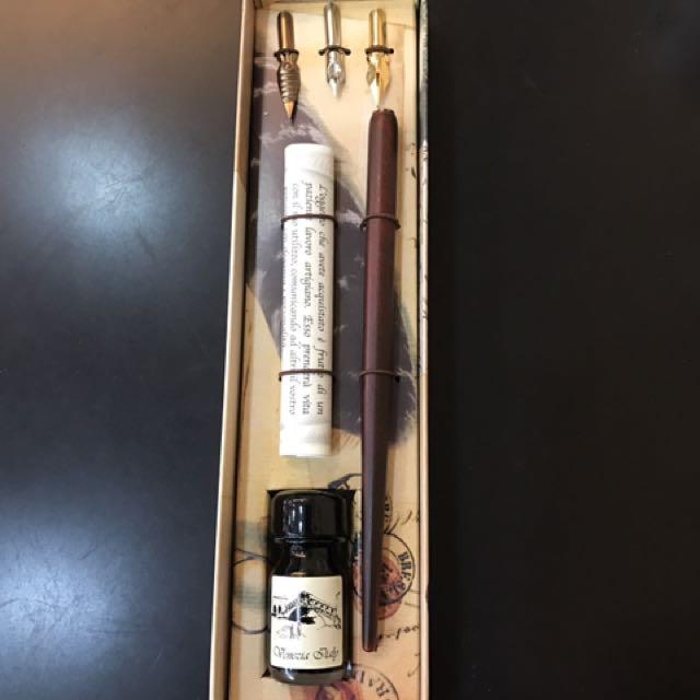 義大利/木柄3頭沾水筆