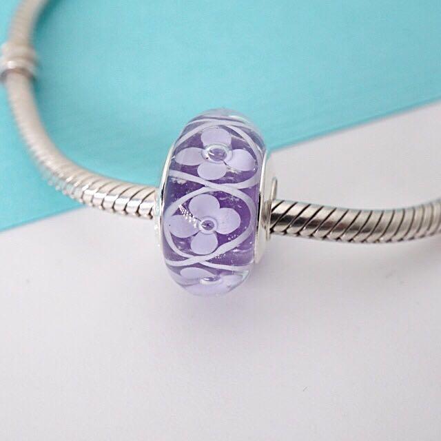 寵拉拉/925銀 新款清新紫底白花 琉璃珠 可串PANDORA潘朵拉/Soufeel手鍊 通用