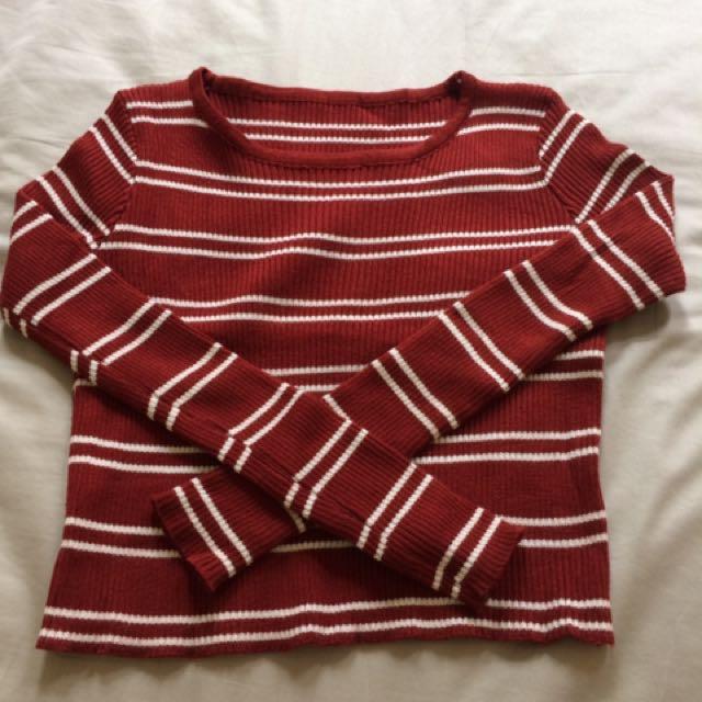 條紋短版針織衣