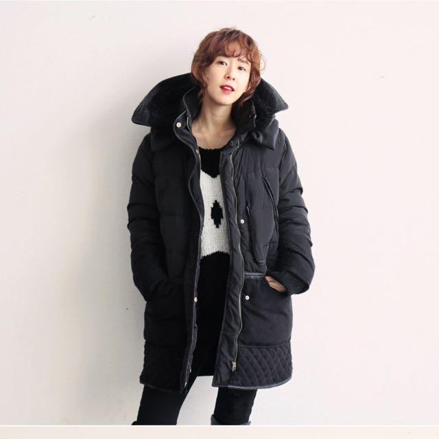 正韓購入 黑色防水羽絨內刷羊羔毛 連帽長版外套