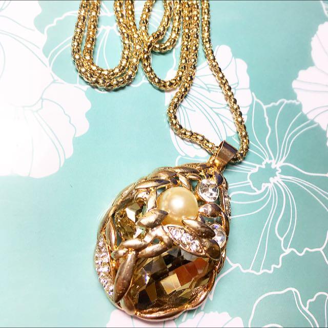 水滴質感項鍊 蛋形寶石 水鑽 珍珠 不對稱金屬設計 編織鏤空 低調奢華長鍊