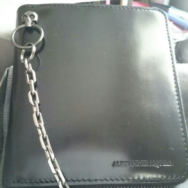 Alexander McQueen Leather Wallet W /- Skull & Chain Iconic Detailing