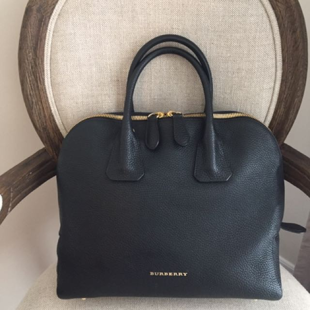 Auth Burberry Black Leather Dome Bag Made In Italy