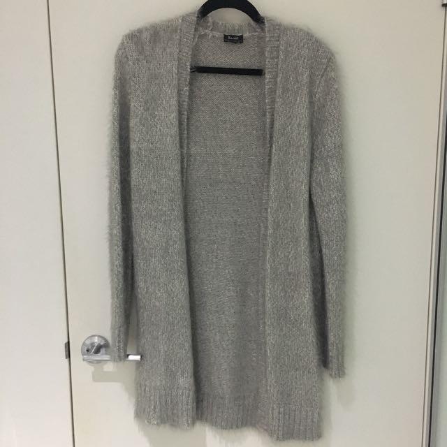 Bardot Grey Fluffy Cardigan
