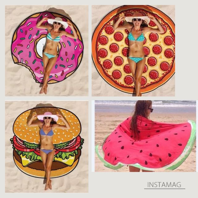 Beach towels (donut, pizza, burger or watermelon)