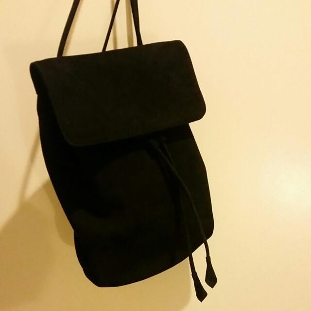 Black 100% Seude Medium size Back Pack