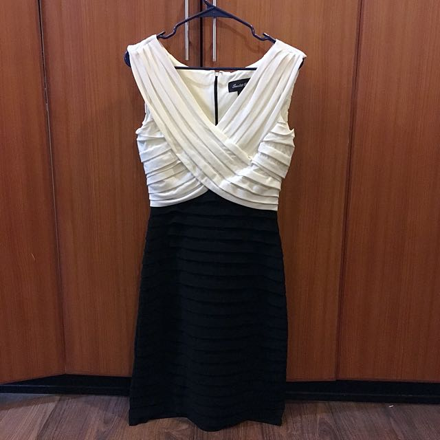 Black and White Pleated Fitted Dress