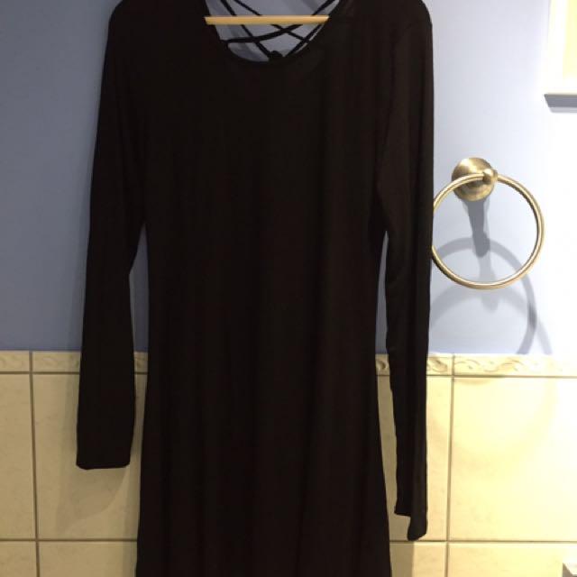 Black Short Lace Back Dress