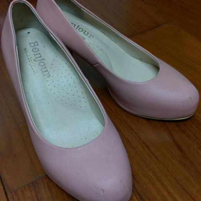 #500以下女鞋#Bonjour粉色靜音高跟鞋
