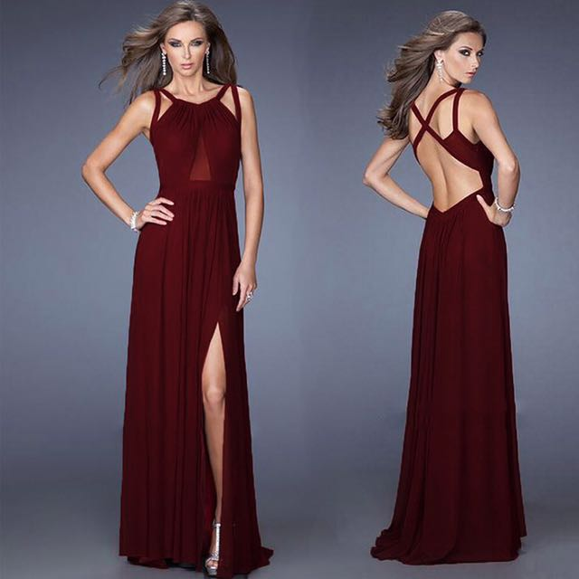 BRAND NEW Long Maxi Red-Wine Cocktail Dress