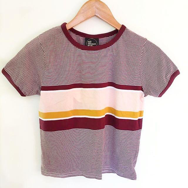 Burgundy Striped Ringer T-Shirt