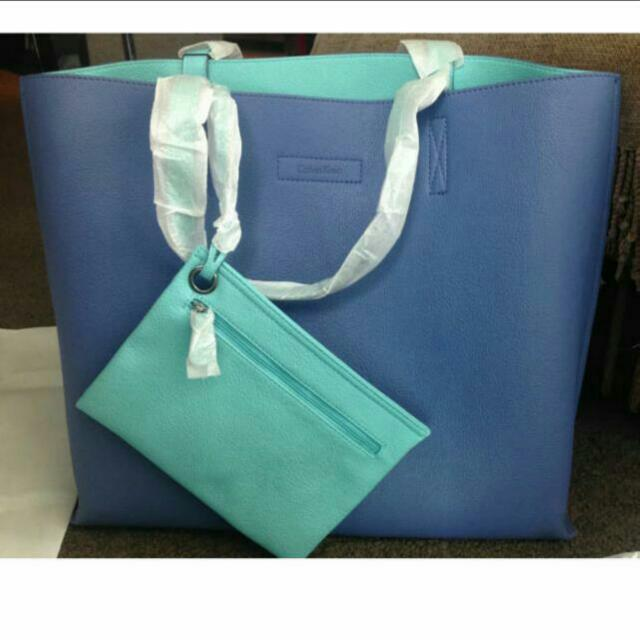 Calvin Klein Large Blue Tote With Small Bag
