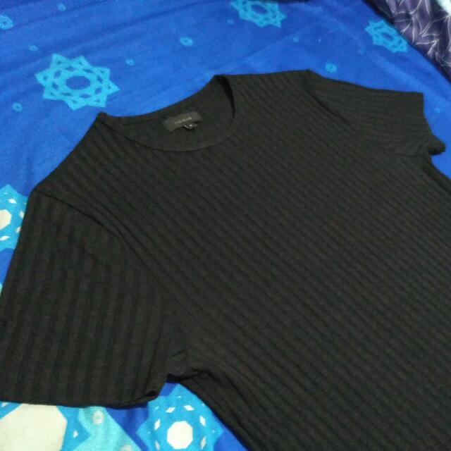 Chunky Ribbed T Shirt River Island Black Size S