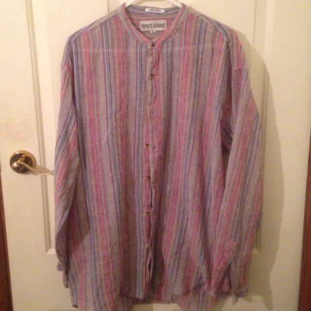 Collarless Shaman Button Shirt