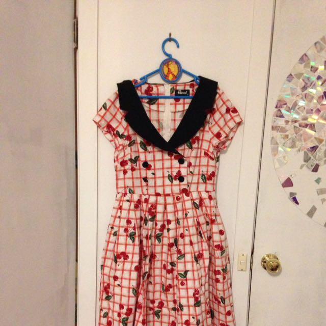 Dangerfield Cherry Dress Peter Pan Collar Pleated