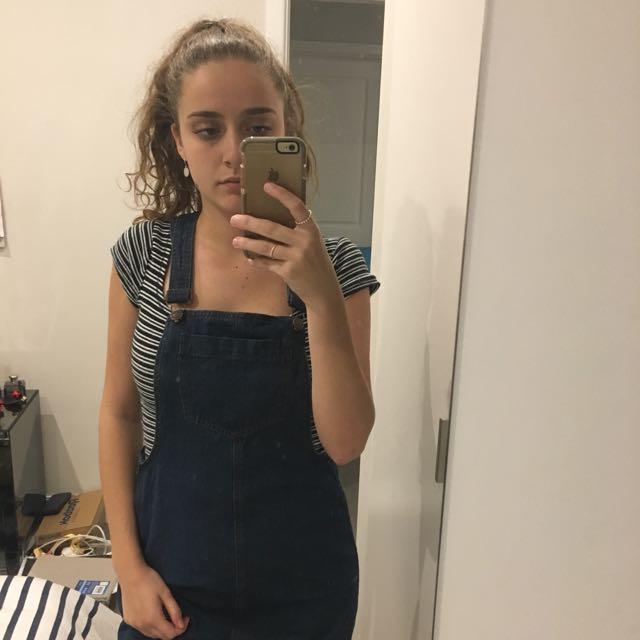 Dark Denim Overall Dress