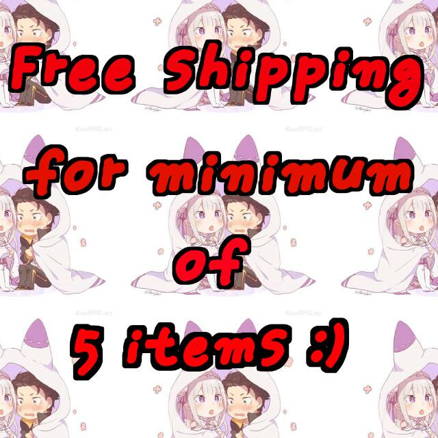 Free Shipping For Minimum Of 5 Items ::