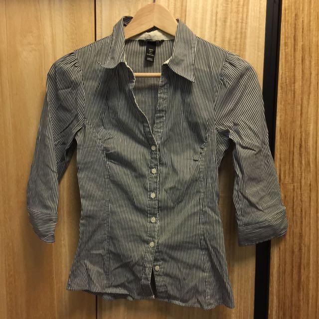 H&M藍白條紋七分袖襯衫