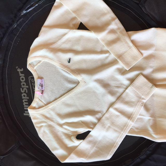 Lacoste米白色V領羊毛衣 尺寸36