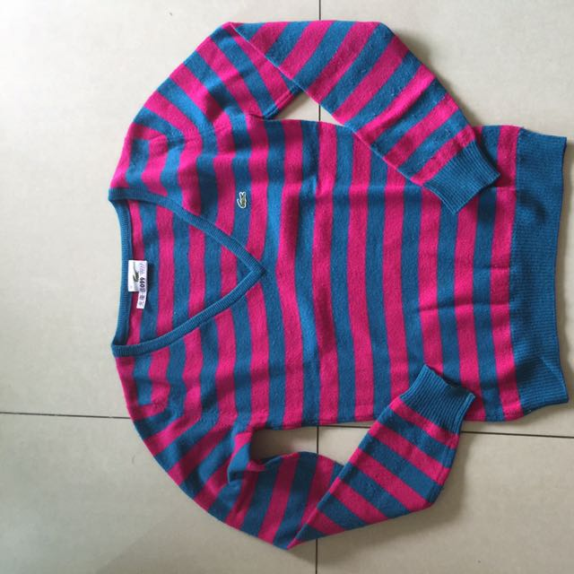 Lacoste藍桃條紋V領羊毛衣 尺寸:36