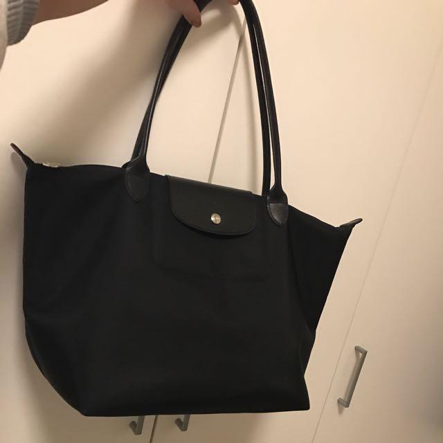 Longchamp 加厚長柄L尺寸黑(正品